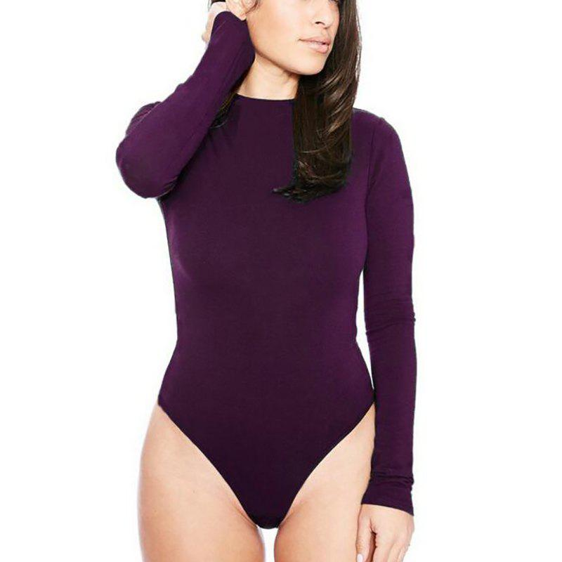 Round Neck Solid Long Sleeve Romper Jumpsuit - PURPLE S