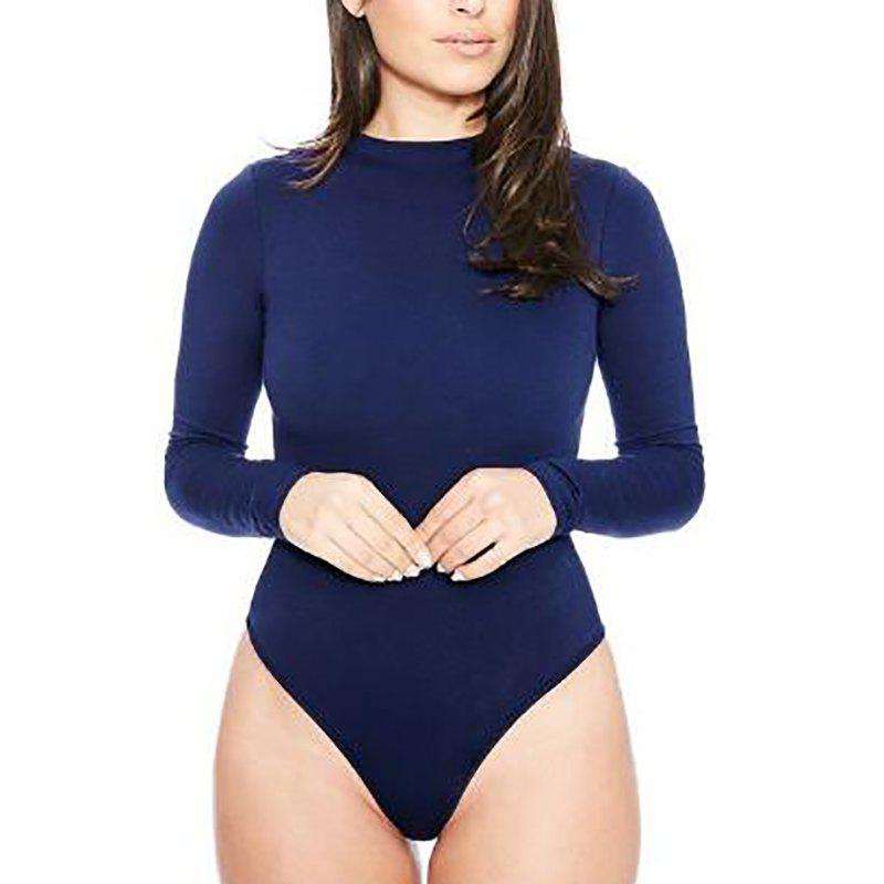 Round Neck Solid Long Sleeve Romper Jumpsuit - DEEP BLUE XL