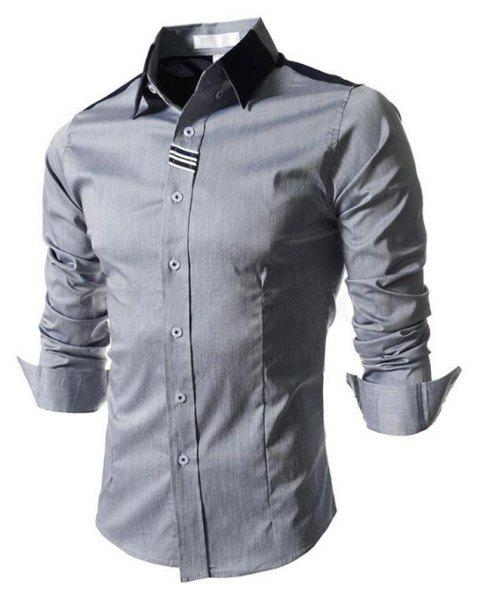 Men's Block Classic Collar Long Sleeves Casual Shirt - GRAY 2XL