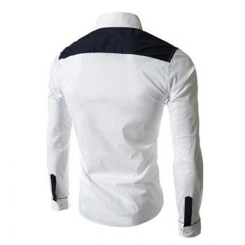 Men's Block Classic Collar Long Sleeves Casual Shirt - WHITE M