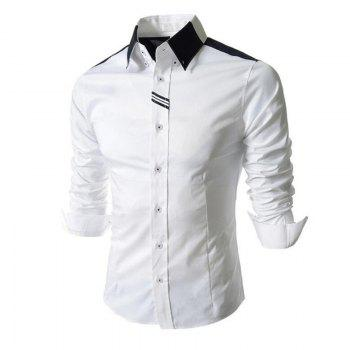 Men's Block Classic Collar Long Sleeves Casual Shirt - WHITE L