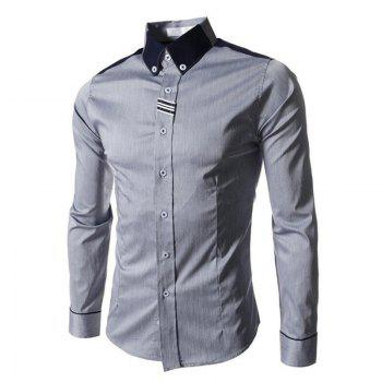 Men's Block Classic Collar Long Sleeves Casual Shirt - GRAY GRAY