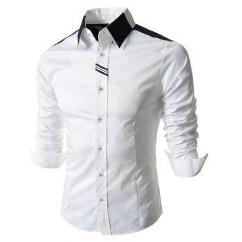 Men's Block Classic Collar Long Sleeves Casual Shirt - WHITE 2XL