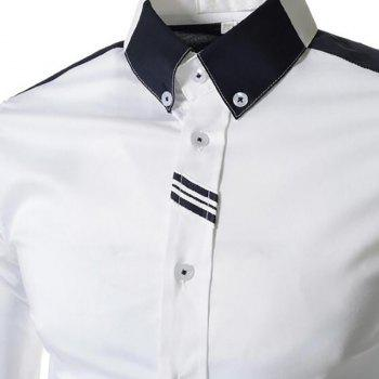 Men's Block Classic Collar Long Sleeves Casual Shirt - WHITE WHITE