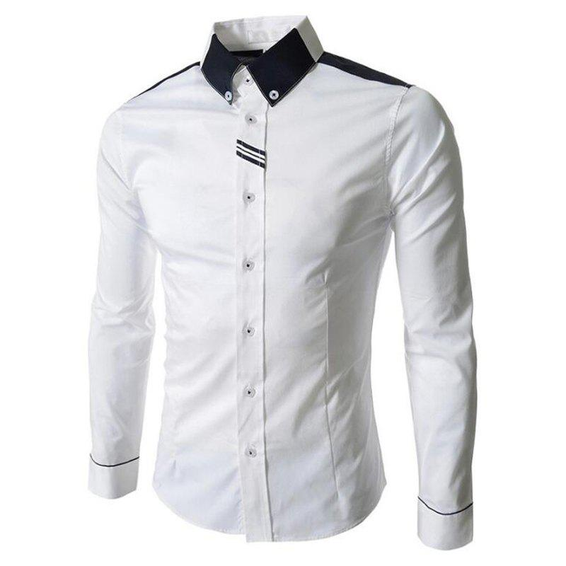 Men's Block Classic Collar Long Sleeves Casual Shirt - WHITE XL