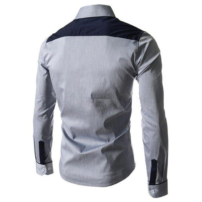 Men's Block Classic Collar Long Sleeves Casual Shirt - GRAY M