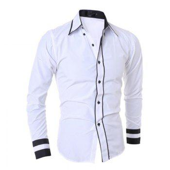 Men's Casual Simple Stripe Long Sleeves Shirts - WHITE WHITE