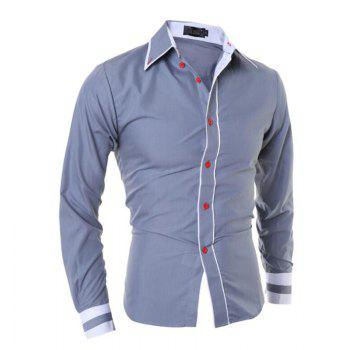 Men's Casual Simple Stripe Long Sleeves Shirts - GRAY GRAY