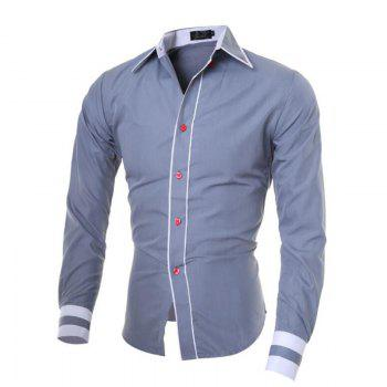 Men's Casual Simple Stripe Long Sleeves Shirts - GRAY XL
