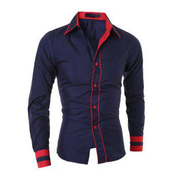 Men's Casual Simple Stripe Long Sleeves Shirts - CADETBLUE CADETBLUE
