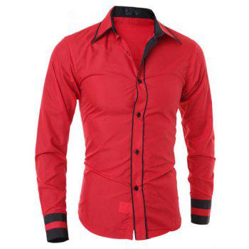 Men's Casual Simple Stripe Long Sleeves Shirts - RED RED
