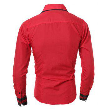 Men's Casual Simple Stripe Long Sleeves Shirts - RED XL