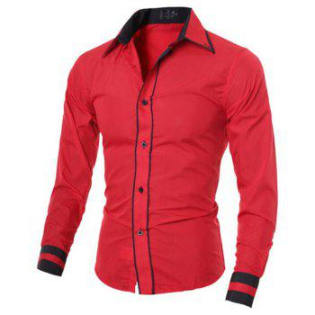 Men's Casual Simple Stripe Long Sleeves Shirts - RED L
