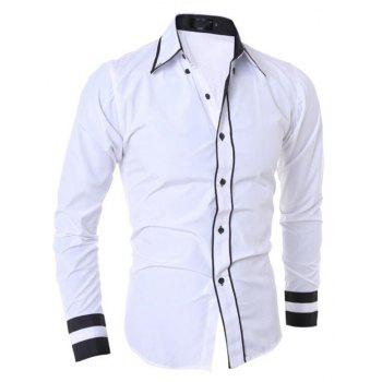 Men's Casual Simple Stripe Long Sleeves Shirts - WHITE M