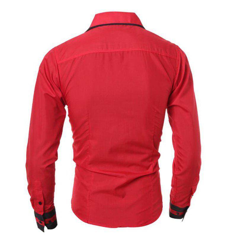 Men's Casual Simple Stripe Long Sleeves Shirts - RED M