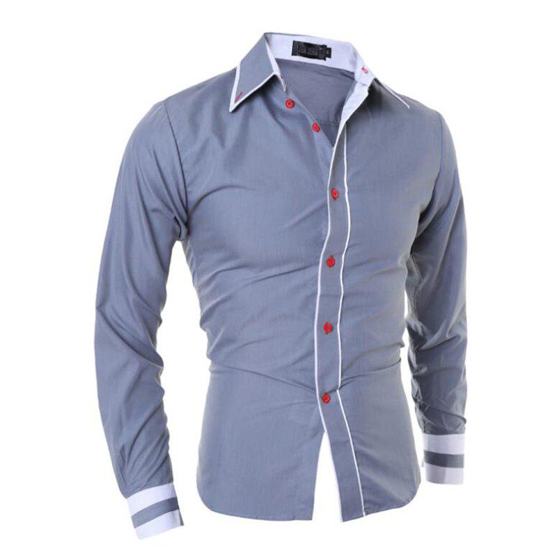Men's Casual Simple Stripe Long Sleeves Shirts - GRAY M