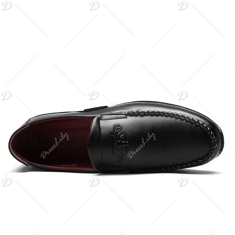 Men Casual Outdoor Slip on Business Formal Leather Trend for Fashion Shoes - BLACK 40