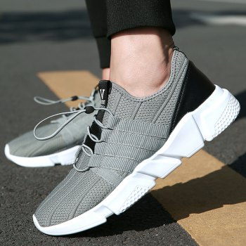 Men Running Lace Up Sport  Outdoor Jogging Walking Athletic Shoes - GRAY GRAY