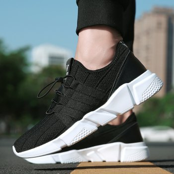 Men Running Lace Up Sport  Outdoor Jogging Walking Athletic Shoes - BLACK 44