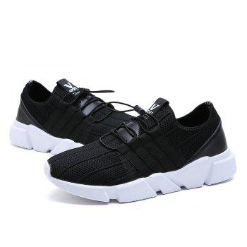 Men Running Lace Up Sport  Outdoor Jogging Walking Athletic Shoes - BLACK 42