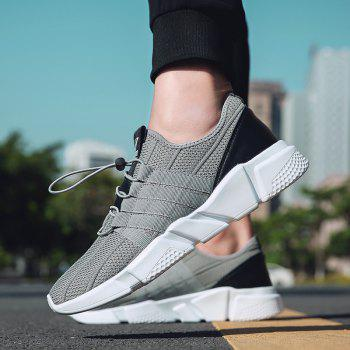 Men Running Lace Up Sport  Outdoor Jogging Walking Athletic Shoes - GRAY 43