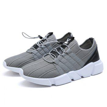 Men Running Lace Up Sport  Outdoor Jogging Walking Athletic Shoes - GRAY 42