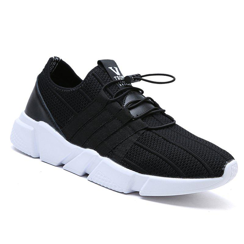 Men Running Lace Up Sport  Outdoor Jogging Walking Athletic Shoes - BLACK 41