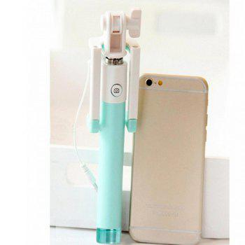 Universal Mini Monopod Wired Extendable Selfie Sticks - GREEN