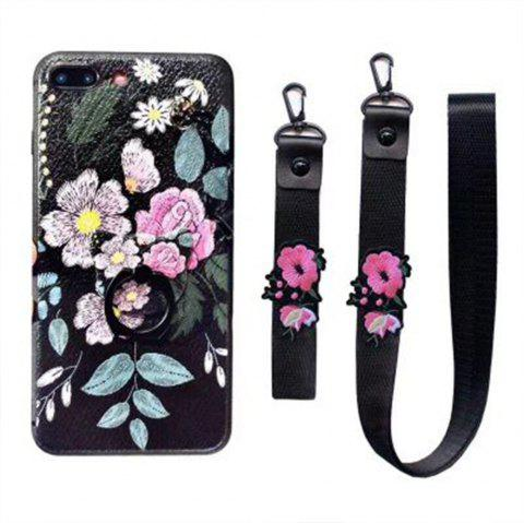 XY12 Relief Silicone Strap Ring Set Flowers Fall for iPhone 7 - BLACK