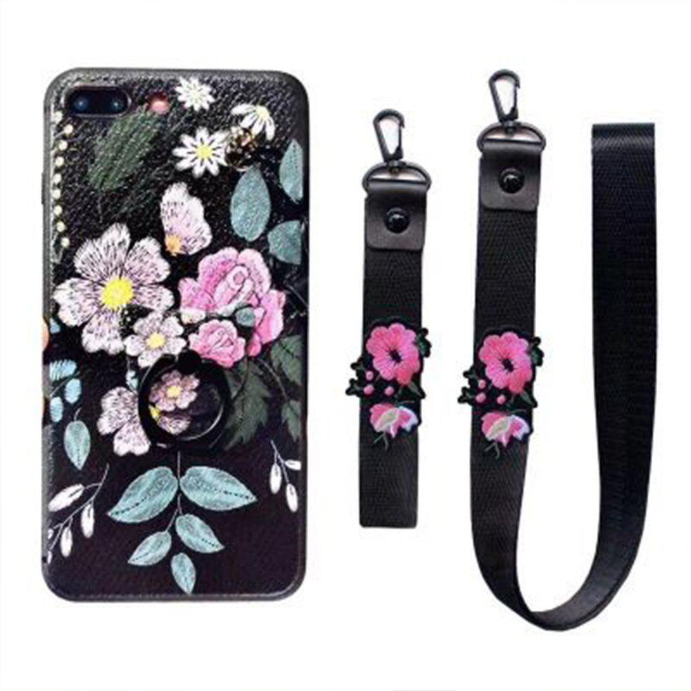 XY13 Relief Silicone Strap Ring Set Flowers Fall for iPhone 7 Plus - BLACK