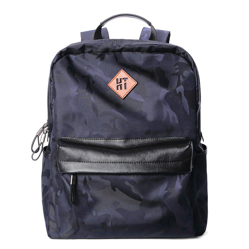 HAUT TON Design Camouflage Canvas Water Resistant Backpack - BLUE