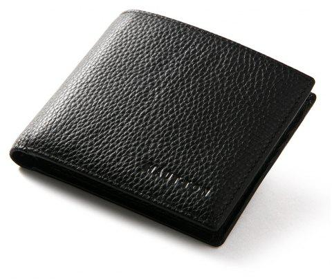 HAUT TON Full Grain Leather Men Minimalist Basic Multi-Card Bifold Wallet - BLACK
