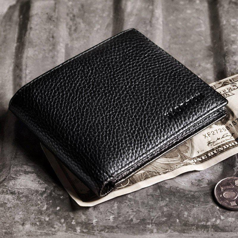 HAUT TON Full Grain Leather Men Minimalist Basic Multi-Card Bifold Wallet - BLACK 11 X 0.8 X 9.5CM