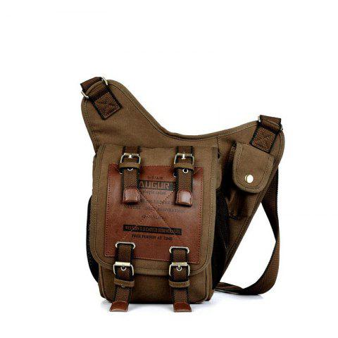 AUGUR New Canvas Men Fashion Shoulder Multifunction Messenger Bag - COFFEE