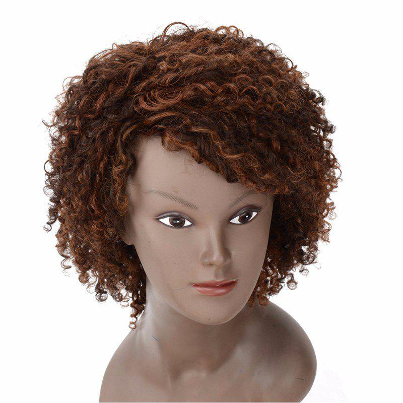 Human Hair Special Curly Wig for Women RC0747 - BROWN 10INCH