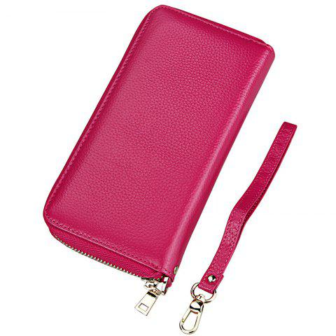 Fashion Women Long Wallets New Style Leather Purses Card Holder Coin Bag Female - ROSE RED