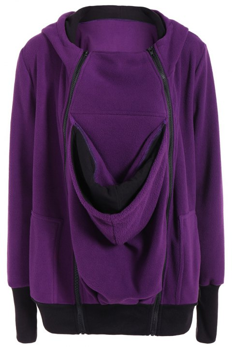 Womens Maternity Kangaroo Hooded Sweatshirt for Baby Carriers Coats - PURPLE S