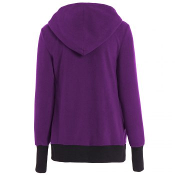 Womens Maternity Kangaroo Hooded Sweatshirt for Baby Carriers Coats - PURPLE XL