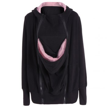 Womens Maternity Kangaroo Hooded Sweatshirt for Baby Carriers Coats - BLACK BLACK