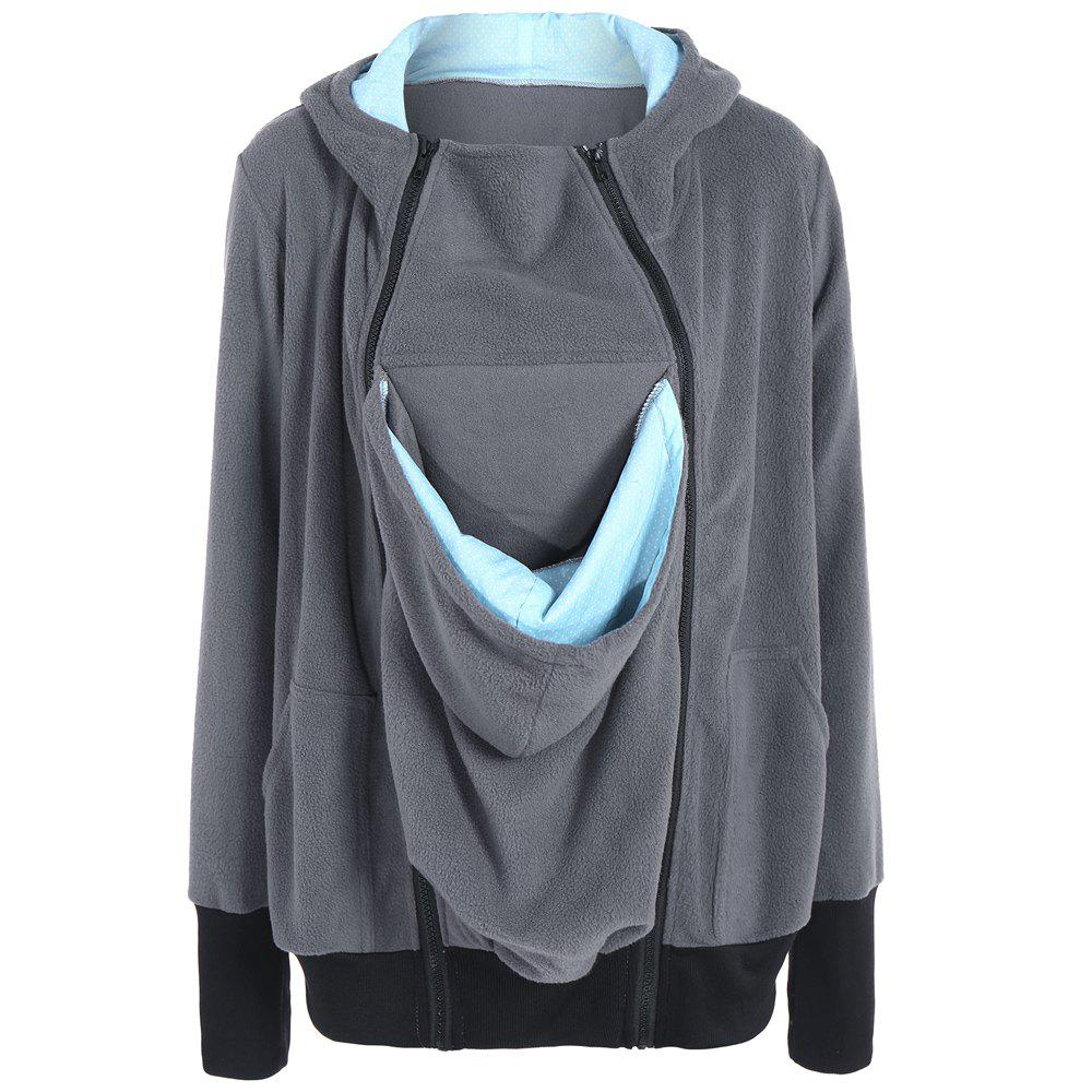 Womens Maternity Kangaroo Hooded Sweatshirt for Baby Carriers Coats - GRAY L