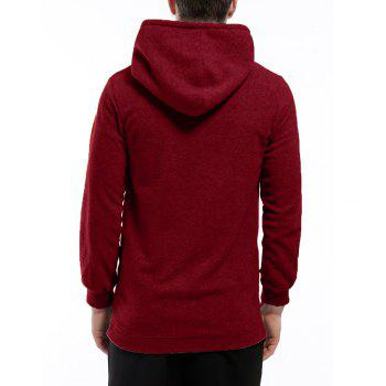 Men's Hoodie Unique Design Solid Color Fashion Zipper Soft Hoodie - DARK RED DARK RED