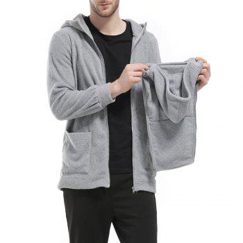 Men's Hoodie Unique Design Solid Color Fashion Zipper Soft Hoodie - GRAY GRAY