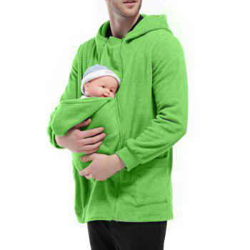 Men's Hoodie Unique Design Solid Color Fashion Zipper Soft Hoodie - GREEN M