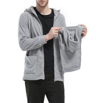 Men's Hoodie Unique Design Solid Color Fashion Zipper Soft Hoodie - GRAY S