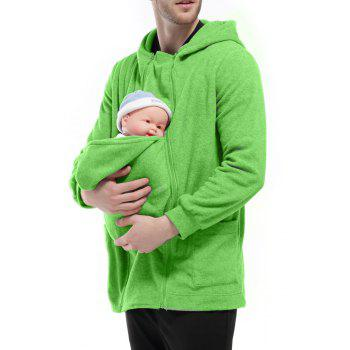 Men's Hoodie Unique Design Solid Color Fashion Zipper Soft Hoodie - GREEN S