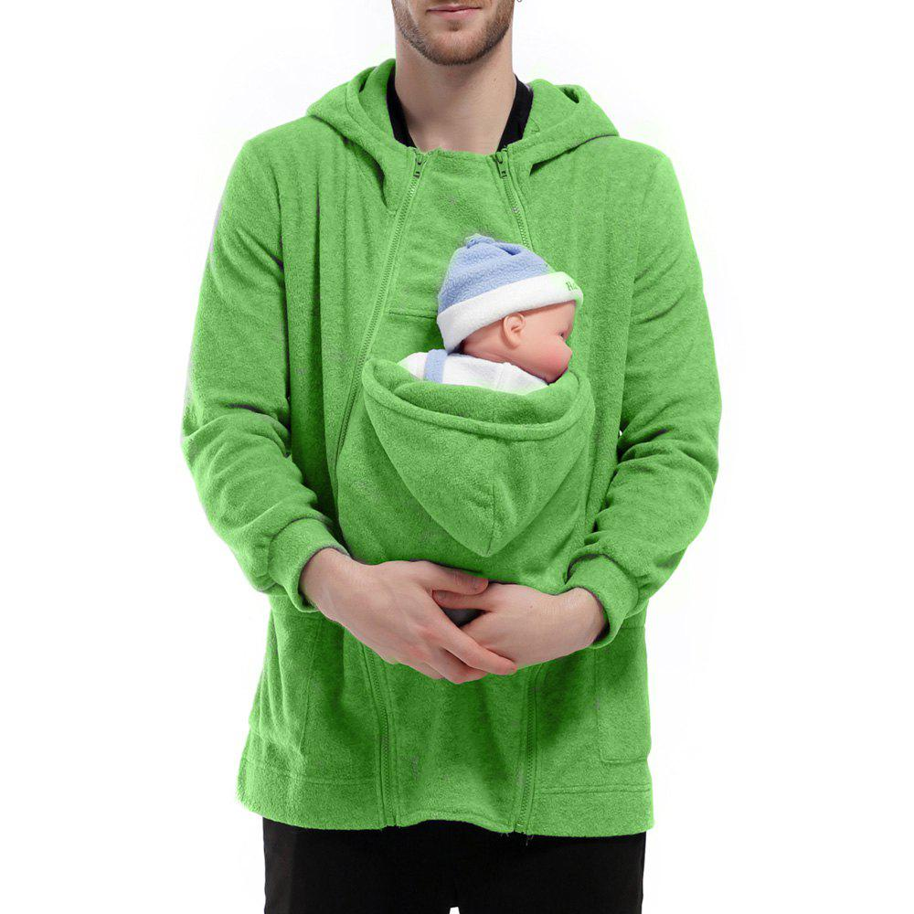 Men's Hoodie Unique Design Solid Color Fashion Zipper Soft Hoodie - GREEN XL