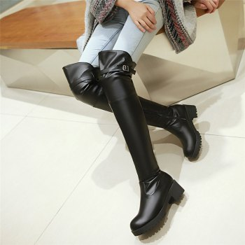 New Winter Boots Waterproof Knee Female with Thick Boots Female Leisure High Cylinder - BLACK BLACK