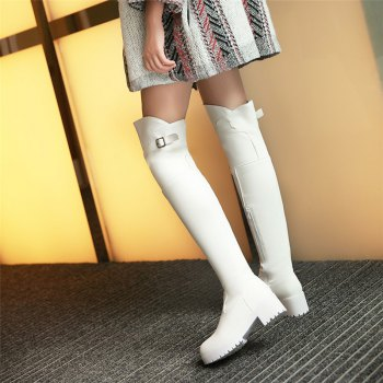 New Winter Boots Waterproof Knee Female with Thick Boots Female Leisure High Cylinder - WHITE WHITE