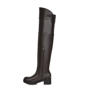 New Winter Boots Waterproof Knee Female with Thick Boots Female Leisure High Cylinder - BROWN 34