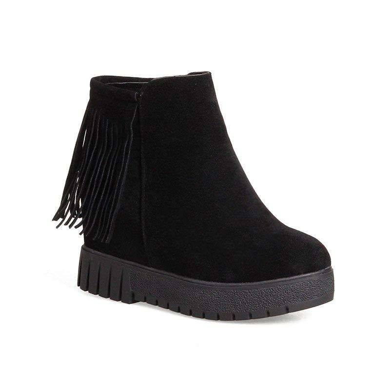 New Short Flat Bottomed Tassels High Soles Heels Single Boots - BLACK 34